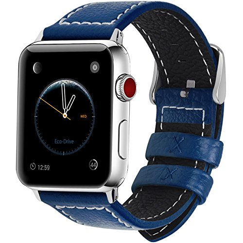 Stainless Steel Blue Leather (7 Colors for iWatch Series 2 Band, Fullmosa Jan Calf Leather Strap Replacement Band/Strap with Stainless Steel Clasp for iWatch Series 1 2 3 Sport and Edition Versions 2015 2016 2017, Dark Blue,42mm)