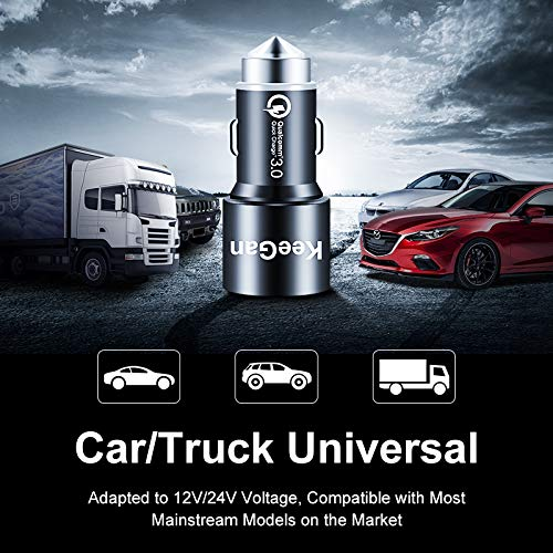 Qualcomm Certified KeeGan QC 3.0 Car Charger Sliver Fast Dual USB Car Charger 30W Aluminum Alloy Adapter with 2 Smart Port Compatible Samsung S9 S8 S7 S6 Plus Note 9 8 iPhone Xs X 8 7 and More