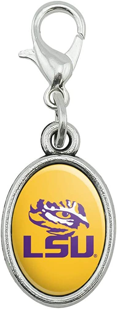GRAPHICS /& MORE LSU Tiger Eye on Yellow Antiqued Bracelet Pendant Zipper Pull Oval Charm with Lobster Clasp