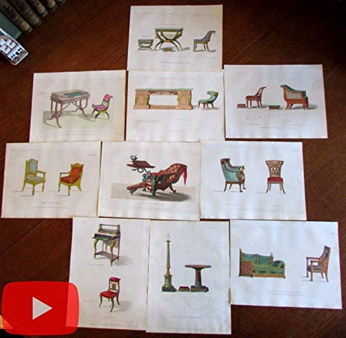 Ackermann color aquatints prints furniture chairs c.1808-1812 lot x 10 rare
