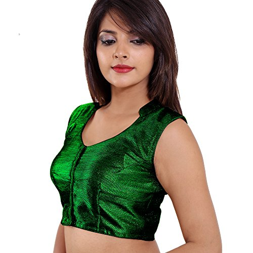 Singaar Readymade Blouse For Women High Neck Design Green Color