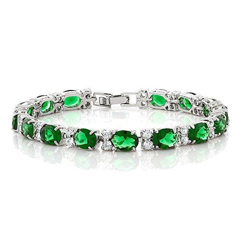 7' Bracelet Jewelry (40.00 Ct Oval & Round Green Color Cubic Zirconias CZ Tennis Bracelet 7 Inch)