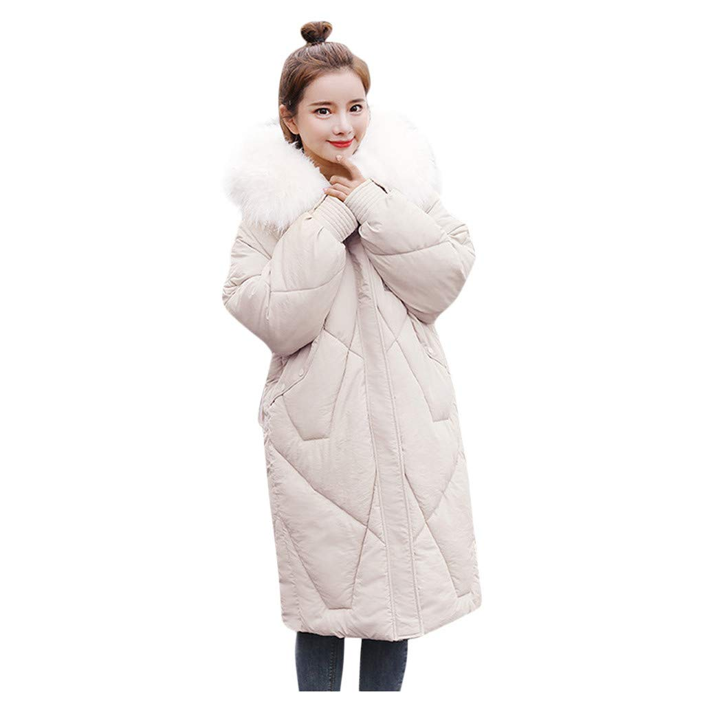 Wenini Women's Mid Length Coat Thick Warm Cotton Jacket Loose Cotton Jacket Outerwear by Wenini