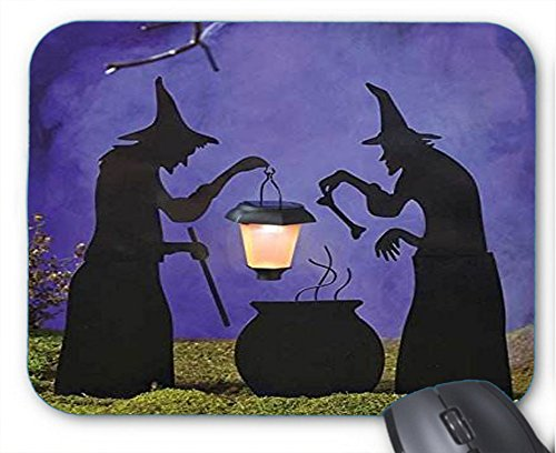 Mouse Pad 1940s Vintage Halloween Witch with Cauldron Mouse Mat -