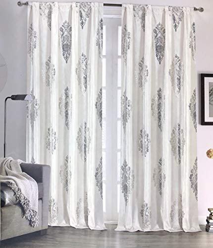 Tahari Home Maison Velvet Window Panels Draperies Curtains Set of 2 Floating Paisley Medallions in Gold on Cream - 38