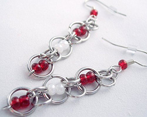 (Team Colors Chainmaille Earrings Red and White)