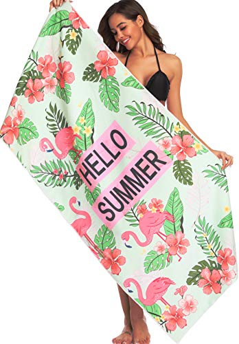 Ricdecor Beach Towels for Kids Flamingo Large Beach Towels Oversized Palm Leaves Beach Blanket Towel (Flamingo Towels Beach)