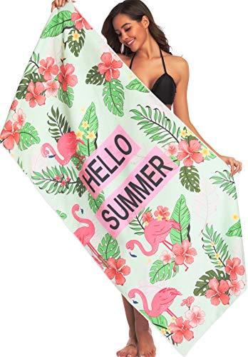 Flamingo Towels Beach - Ricdecor Beach Towels for Kids Flamingo Large Beach Towels Oversized Palm Leaves Beach Blanket Towel