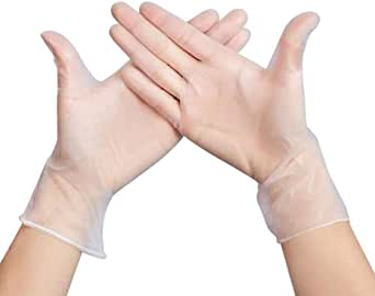 Disposable PVC Gloves Latex Free, Powder Free, Non-Sterile, Food Safe, 100 P