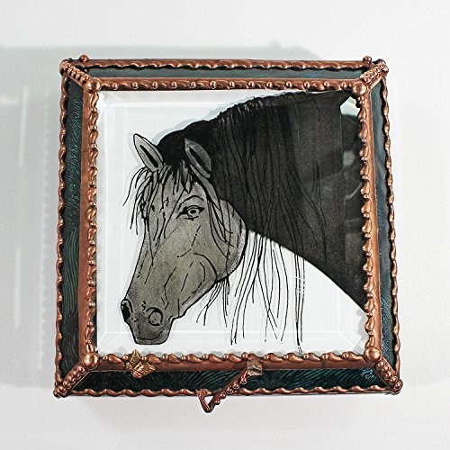 Equine Horse Stained Glass Jewelry Box, Presentation Box, Keepsake Box, Glass Jewels, Swarovski Crystals, USA Made by Glass Treasure Box