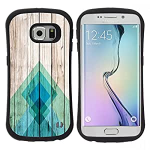 "Hypernova Slim Fit Dual Barniz Protector Caso Case Funda Para Samsung Galaxy S6 EDGE [Líneas Textura de madera Docks Pier Surf""]"