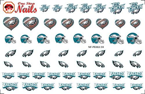 Philadelphia Eagles Waterslide Nail Decals (Tattoos) V2. Set of 59.