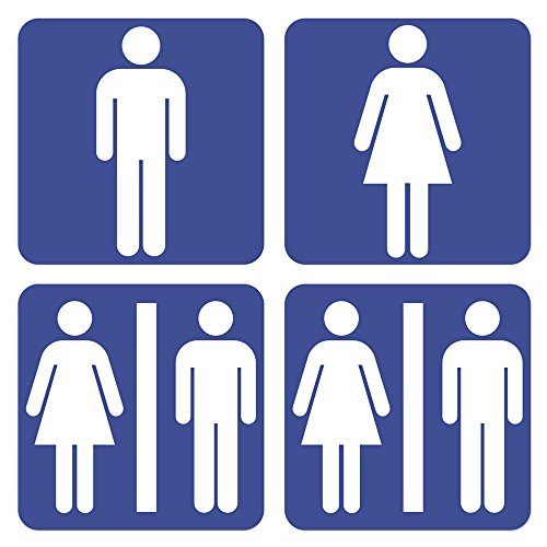 dealzEpic - Men and Women Restroom/Toilet Sign - Self Adhesive Peel and Stick Vinyl Sticker - 3.94 x 3.94 inches | Pack of 4 ()