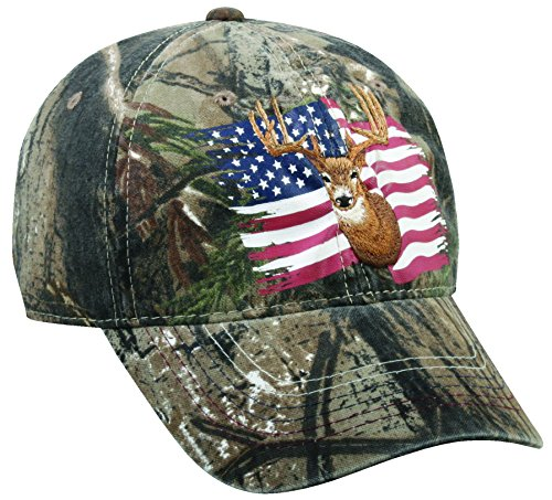Realtree Adjustable Closure Deer and Flag Cap, Realtree Xtra (Realtree Camo Adjustable Hat)