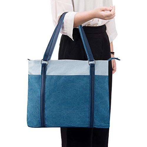 Laptop Tote Bag, GRM Canvas Shoulder Bag, Carrying Handbag for Laptop up to 15.6 inch, Travel Computer Business Office Work School, Blue