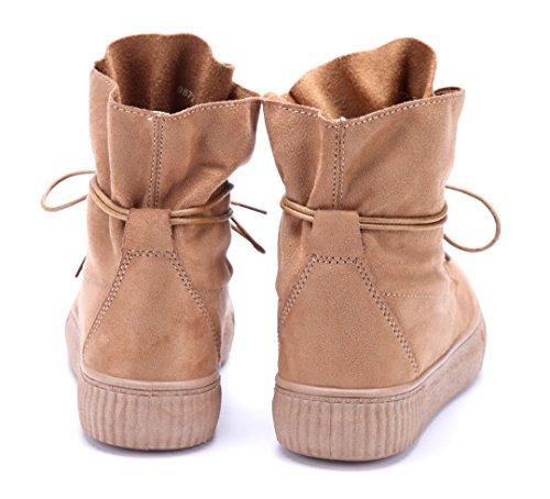 Schuhtempel24 Damen Schuhe Flache Stiefeletten Stiefel Boots Flach Camel