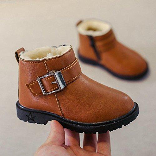 Omiky® Kleinkind Kinder Jungen Mädchen Martin Sneaker warme Stiefel Kinder Baby Freizeitschuhe Braun
