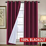 H.VERSAILTEX Completely 100% Blackout Curtains 96 Length Thermal Insulated Faux Silk Lined Curtains Draperies Noise Reducing & Energy Saving Window Grommet 2 Panels Set for Living Room, Burgundy For Sale