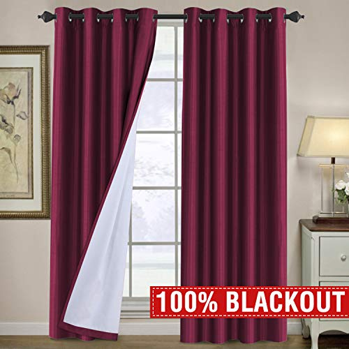 - H.VERSAILTEX Completely 100% Blackout Curtains 96 Length Thermal Insulated Faux Silk Lined Curtains Draperies Noise Reducing & Energy Saving Window Grommet 2 Panels Set for Living Room, Burgundy