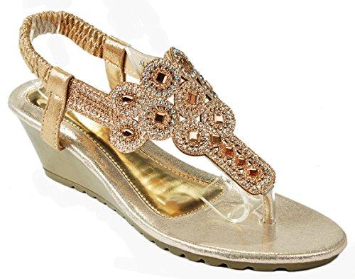 Women Aldo-325 Gold Glitter Sparkle Rhinestone Cut Out T-Strap Slingback Thong Wedge Sandals-5.5
