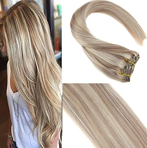 Sunny 20inch Blonde Remy Human Hair Extensions Clip in Dark Ash Blonde Highlighted Bleach Blonde 7 piece 120G Thick Ends Clip Hair Extensions for Full Head