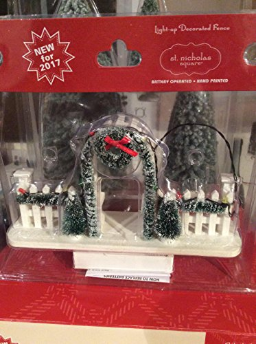 St Nicholas Village Fence with garland wreath lighted battery op (Wreaths Kohls)