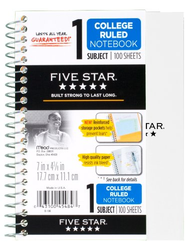 "043100454847 - Five Star Personal Spiral Notebook, 7"" x 4 3/8"", 100 Sheets, College Rule, Assorted colors (45484) carousel main 1"