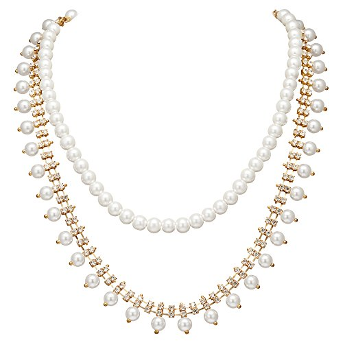- BABEYOND 1920s Gatsby Crystal Pearl Necklace Vintage 20s Imitation Pearl Necklace Art Deco Flapper Jewelry Accessories for Women