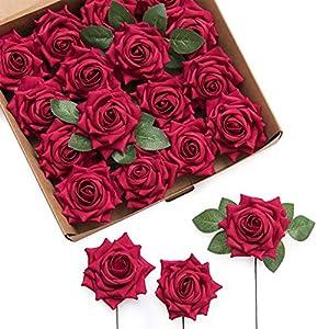 Ling's moment Royal Highness Hybrid Tea Rose 16pcs Dark Red Artificial Flower with Stem for Wedding Flower Arrangement Decor 62