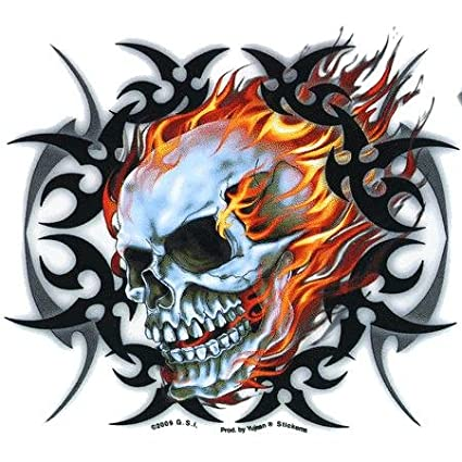 Hot leathers tribal flame skull sticker decal