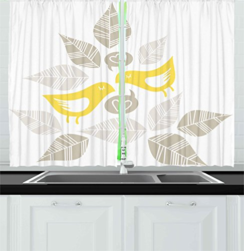 Ambesonne Bird Kitchen Curtains, Abstract Modern Art Deco Design Inspired Birds and Leaves Illustration, Window Drapes 2 Panel Set for Kitchen Cafe, 55 W X 39 L inches, Warm Taupe Yellow White ()