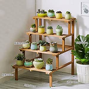 Removable Storage Rack Solid Wood Corner Flower Shelf Multi-step Ladder Green Plant Floor Balcony Wooden Flower Stand Outdoor Shelves Indoor Storage Shelf ( Design : 5 )