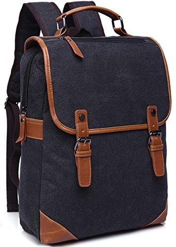 Vintage Canvas Backpack For Unisex (Black) - 5