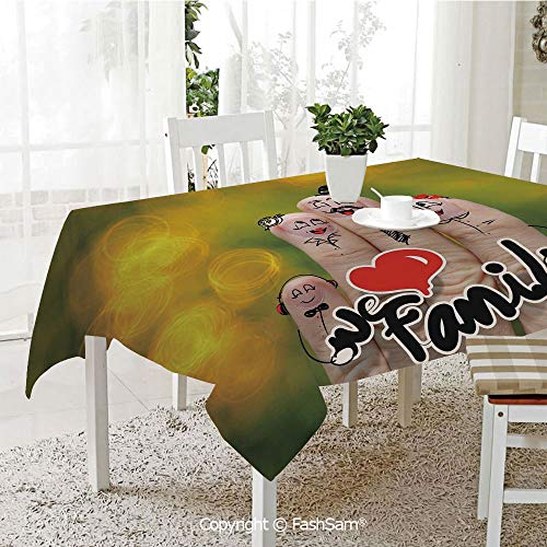 AmaUncle Party Decorations Tablecloth Happy Finger Family Holding We Love Family Words Hugging Smiling Funny Cute Artwork Resistant Table Toppers (W60 -