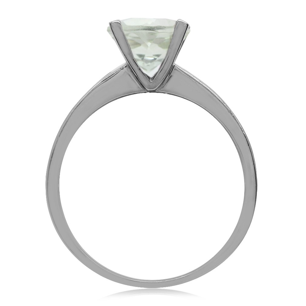 Silvershake 8mm Round Shape White Gold Plated 925 Sterling Silver Solitaire Ring
