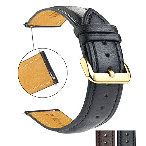 ZLIMSN Quick Release Genuine Calf Full-grain Leather 18mm 20mm 22mm 24mm Ladies Wrist Watch Band for Men Women Bracelet Strap Replacement + Spring Bar + Removal Tool(Black 18mm)