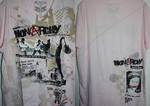 (Monarchy Los Angeles Pink V Neck Fight Back Mayhem Night Debauchery Punk Rock Show T Shirt Graphics 0f the Queen-Eyes Blocked-Eyes rear lower corner $55 Large)