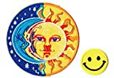 """APPLIQUE HALF BLUE MOON AND HALF YELLOW SUN "" Applique embroidered iron on PATCHES for cap, jacket, T-Shirt, jeans, backpack with FREE shipping and FREE gift by PATCH CUBE"
