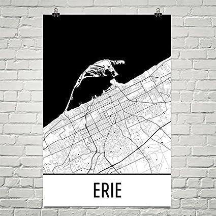 Amazon.com: Erie Poster, Erie Art Print, Erie Wall Art, Erie Map ...