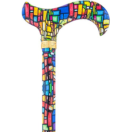 Mosaic Stained Window Adjustable Designer Derby Walking Cane with Engraved Collar