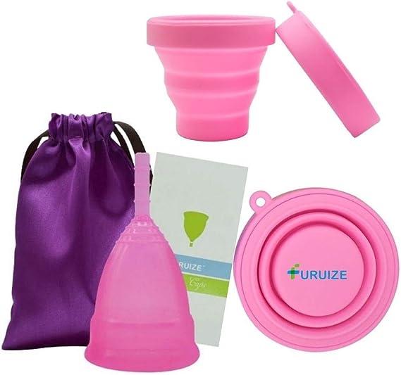 Copa Menstrual Furuize Active con Esterilizador Plegable. Fortalece el suelo pélvico, previene cistitis y cólicos menstruales. Silicona suave de grado ...