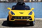 remote car motor - First Drive Ferrari California Style Yellow 6v Kids Cars - Dual Motor Electric Power Ride On Car with Remote, MP3, Aux Cord, Led Headlights, and Premium Wheels