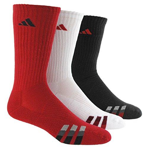 adidas Men's Cushion Crew Socks (Pack of 3), Power Red/White/Black, One (Black Red White)