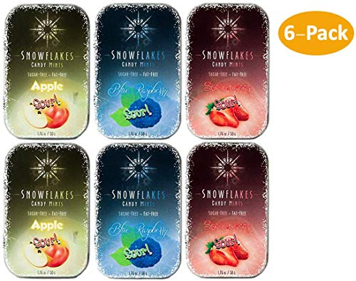 SOUR Assorted Xylitol Candy Chips (6-Pack) - Snowflakes 50g Tins - SOUR: (2) Apple, (2) Strawberry & (2) Blue Raspberry | Handcrafted - 3 Ingredients | Non-GMO, Vegan, GF & Kosher!
