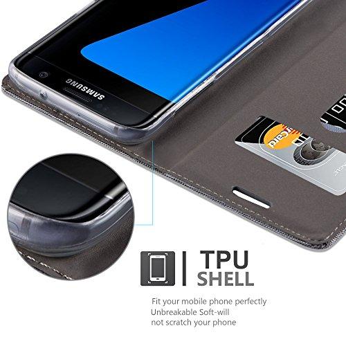 Cadorabo - Funda Estilo Book para Samsung Galaxy S7 EDGE de Diseño Tela / Cuero Arificial con Tarjetero, Función de Suporte y Cierre Magnético Invisible - Etui Case Cover Carcasa Caja Protección en AZ GRIS-CLARO-MARRÓN