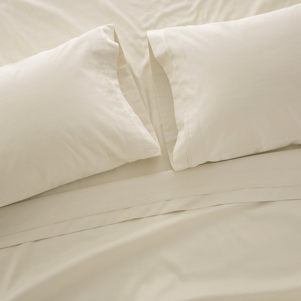 Ivory California King 1000 Thread Count Bed Sheet Sets - Luxurious 100% Egyptian Cotton Deep Pocket Sheets - Bedding Set Includes One Flat Sheet, One Fitted Sheet & Two Pillowcases - Queen Size, Ivory