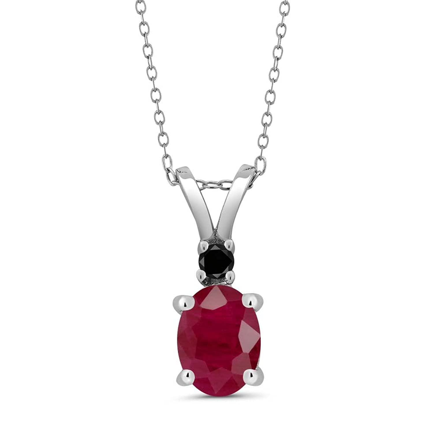 1.67 Ct Oval Red Ruby Black Diamond 925 Sterling Silver Pendant