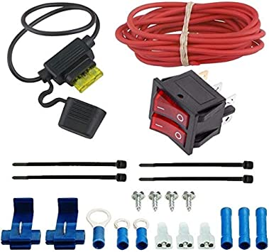 American Volt Dual Radiator Electric Fan Adjustable Thermostat Relay Wiring Switch Kit Car Truck Basic