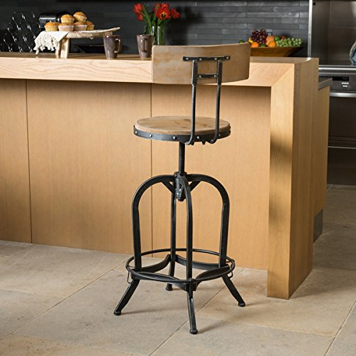 Stirling Adjustable Wood Backed Bar Stool by Christopher Knight Home ()