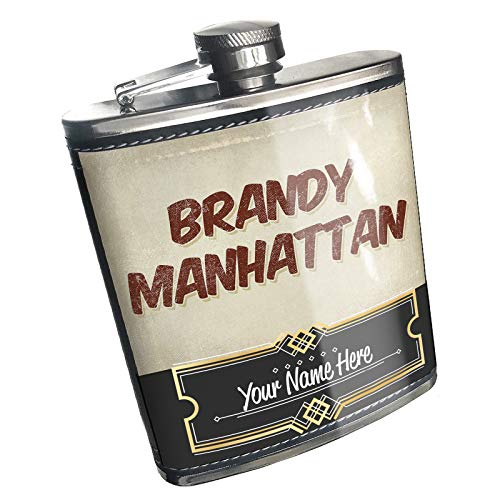 Neonblond Flask Brandy Manhattan Cocktail, Vintage style Custom Name Stainless Steel
